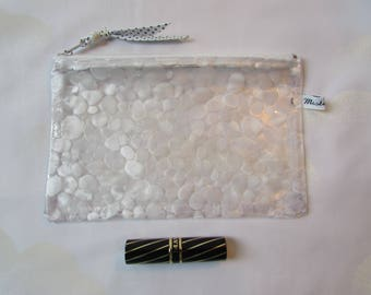 Clear vinyl, waterproof PVC zipper pouch look 'pebbles' Kit makeup, medicines, waterproof pouch Beach, handmade