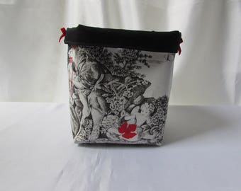 Basket Organizer, storage, fabric basket French toile de Jouy ecru red, waterproof, deco lining gray spirit room woman, gift it