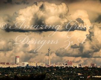 Printable Wall Art -Joburg Skyline, South Africa, Original Photography print