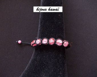 Cotton black & pink Shambala bracelet