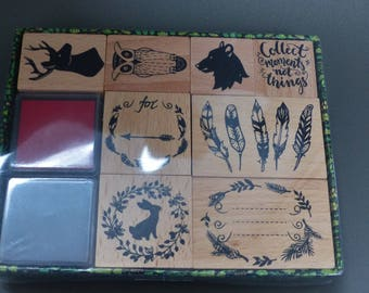 box of 8 stamps in wood and 2 ink red and black feather OWL reindeer bear rabbit