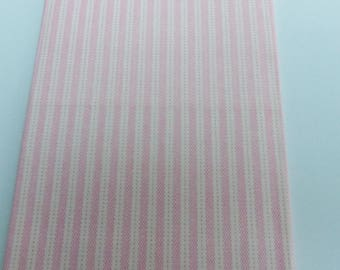 cut of fabric 49 X 49 cm pink and white stripes