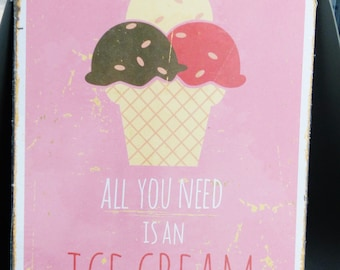 plated metal 30 x 40 cm ice cream ice cream cone pink and ice chocolate Strawberry and vanilla