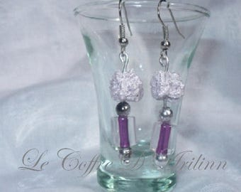 Earrings with pearls and ball tricotinnee