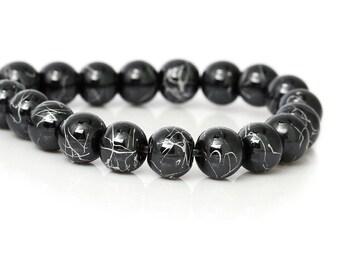 lot 5 Black 8mm Hematite beads