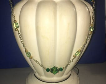 Green chain and bead necklace