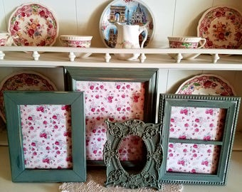 Sage Green PICTURE FRAMES-frame set-wall gallery-vintage style-shabby Chic wedding-nursery-home-photo-collection-Glass Backing