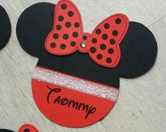 Red and black minnie head announcements