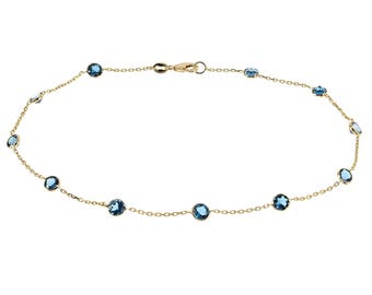 14k Yellow Gold Handmade Station Anklet With London Blue Topaz Gemstones By the Yard 9 - 11 Inches