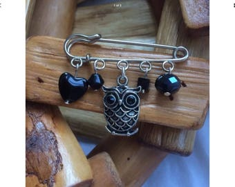 Owl Brooch With Black Crystal Eyes And Black Glass Beads Handmade