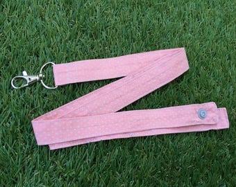 Pink star badge key holder string