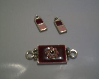 Set of three charms pink and raspberry