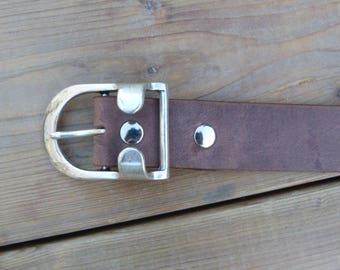 Brown leather, width 35 mm, silver look buckle belt
