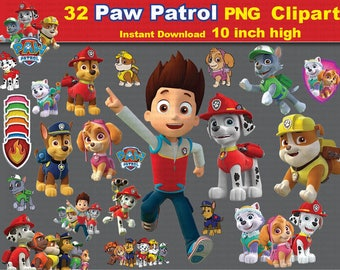 32 x Paw Patrol printable Digital Clipart Graphic Instant Download - Scrapbooking , Instant Download