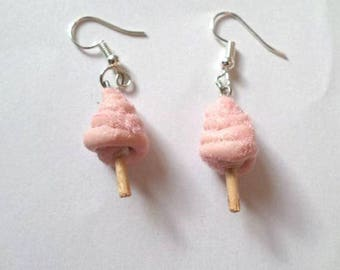 Cotton candy pink polymer clay earrings