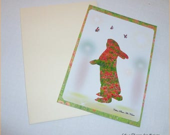 "Handmade ""Little bunny poppy"" double card 10.5x15cm from a photograph of a field of poppies"