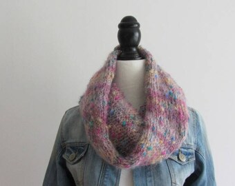 Hand - knitted Snood round neck, tubular scarf knitted pink wool - winter 2017