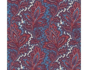 fabric patchwork Paisley blue and Burgundy ref 120/6692
