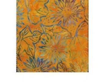 Yellow ochre faux States batik patchwork fabric