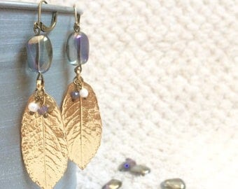 Gold leaf earrings and Blue Pearl