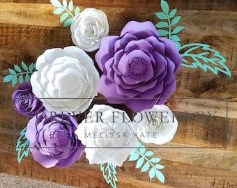 Abigail Set: Large Customizable  Paper Flower backdrop arrangement customizable (7 flowers) Perfect for a party, event or decor