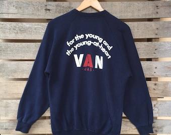 Vintage VAN Jac Sweatshirt Big Spell Jumper Pullover Embroidered 90s M Size Rare Item