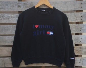 Rare! Vintage Tommy Hilfiger tommy jeans Sweatshirt Tommy girl Spell out Big Logo Jumper Pullover 90s S Size