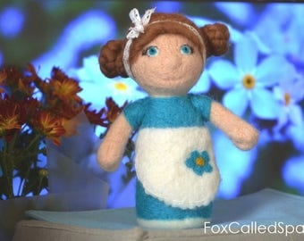 Needle Felted Waldorf Doll Fairy Steiner Inspired Handmade Natural Wool Toys Forget-me-not