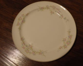 Taylor Smith Taylor USA Dinner Plate,Vintage China,Wedding China,Pink and Blue Floral,Dinnerware,10""