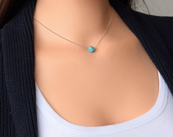 Turquoise Gold Necklace, Turquoise Necklace, Natural Turquoise Necklace, December Birthstone,Stone Necklace, Gold Necklace, Layered Necklace