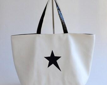 White Star faux leather tote bag black glitter handmade @lacouturebytitia women's fashion