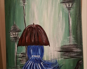 Damsel in Blue with Her Red Umbrella