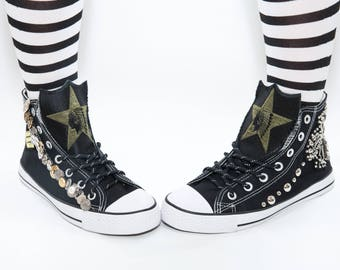 One Of A Kind Custom Sneakers Rock Chick Goth Metal Punk Rockabilly Teen Original and Unique Gift Hand Stitched Converse