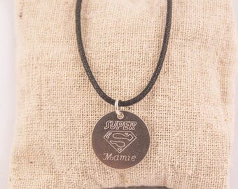 Super Granny steel engraved personalized - custom engraved jewelry pendant