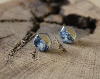 Simple Stud Earrings resin decorated with gold leaf and paper blue and gold finish gold filled 14 k