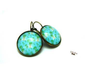 Palm tree vintage glass dome earrings
