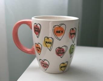 Hand Painted Talking Hearts Ceramic Mug