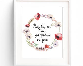 Watercolor Wreath Print, Floral print, Flowers, Quotes print, Digital Wall Art, Best Selling Items, Downloadable Prints, Wall Decor