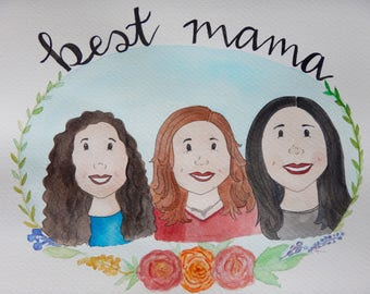 Custom Watercolor Portrait, Family Portrait, Watercolor Painting,Mother's Day Gift, 8 x 10 Watercolor Painting with Florals/Embellishments
