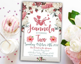 Fairy Birthday Invitation, Fairy Garden Party Invitation, Fairy Floral Invitation, Woodland Fairy Party Invitation, Enchanted Woodland