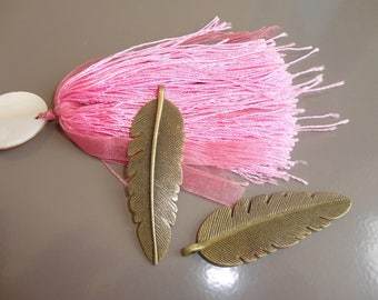 2 45 cm bronze feather charms large size