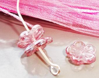 x 10 Czech glass, pink Czech glass beads transparent purple shaped fleur10 mm