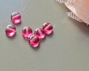 16 Pink Purple flat round Czech glass 4 mm beads