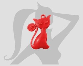 Lot 4 x grandes breloques Chat 41mm Acrylique rouge