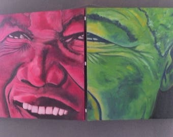 Diptych is painted with oil for peace lovers