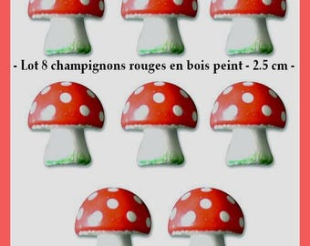 Set of 8 red and white mushrooms painted wood - 2.5 cm - new