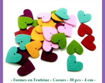 Shapes in felt - hearts - 30 pcs - approximately 4 cm - new