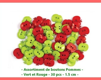 Assortment of buttons Apple - green and Red - 30 pcs - 1.5 x 1.3 cm.