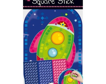 Set of mosaic adhesives for child, collage, creation, decoration, rocket, new