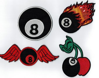 4 patch embroidered iron or sew billiard balls. Patch applique